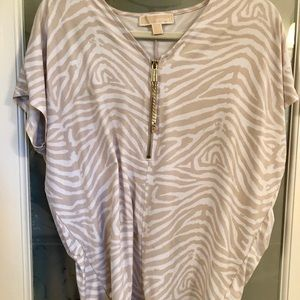Michael Kors tunic with a tan/ cream zebra top